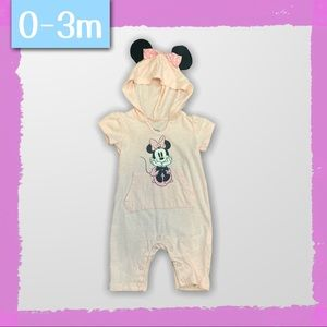 Pink Hooded Minnie Mouse Romper for Infants